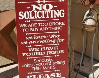 No Soliciting Sign, Thin Mints Sign, Front Porch Sign, 9.5x18 Solid Pine Wood Sign