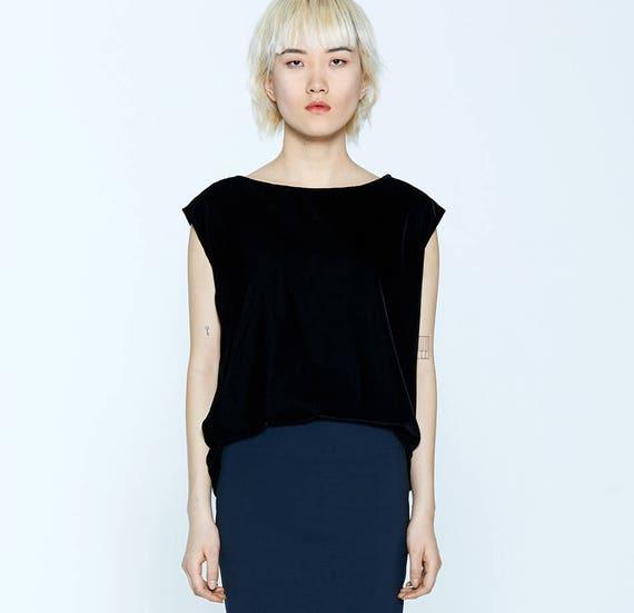 MARGARITA - velvet plain top, short sleeves for womens - black