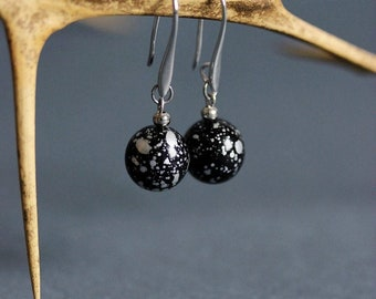 Mother's Day Gift Black Ball Earrings Silver Black Earrings Dangle Beaded Earrings Black Elegant Earrings Everyday Use Minimalistic Earrings