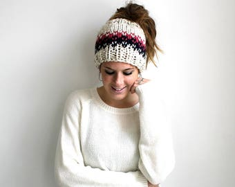 Ponytail Headband, Messy Bun Hat, Knit Pony Tail Hat, Running Headband- Patuxent Ponytail Hat