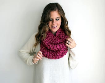 Knit Scarf Cowl, Knitted Scarves Chunky Raspberry - Calvert Cowl