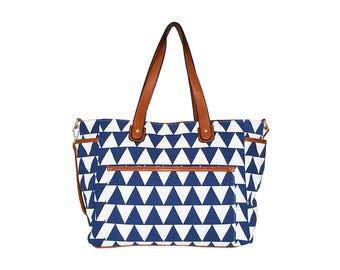 Blue Triangle Tote Bag - The Libra - White Elm Designer Collection