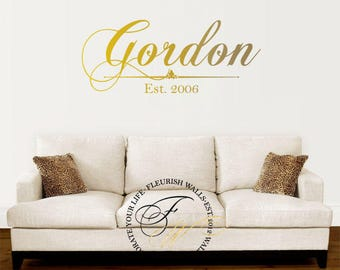 Family Name Decal - Personalized Vinyl Wall Decal with Established Date - Last Name Decal for Living Room Decor Foyer Or Entryway FN001