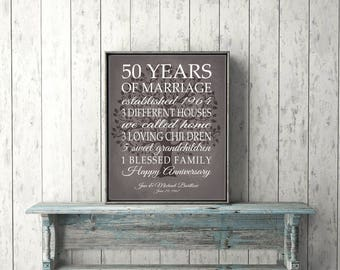 50th Anniversary Gift for Parents Keepsake 50 Year Anniversary Gift Personalized with Life Story Marriage Art Modern Vintage Brown Print
