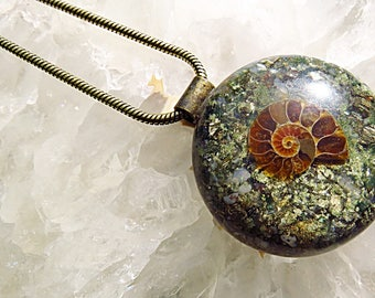 Powerful Orgone Pendant - Moss Agate/Pyrite/Ammonite - FREE WORLDWIDE SHIPPING!