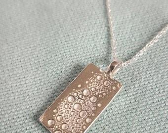 Sea urchin texture rectangular pendant//solid silver necklace