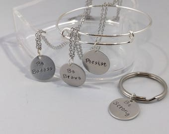 Persist Gift, Gift for a friend, Mini Pendant, Basic Necklace, Personalized Friend Gift, Persist Necklace, Inspirational Necklace, Empower