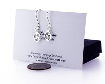 BDSM Fetish Earrings, Sterling Silver, Triskele Earrings, Handcrafted, BDSM Triskele, Triskelion Earring