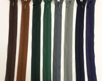 Set of 8 assorted colors - set 12 20 cm invisible zipper closures