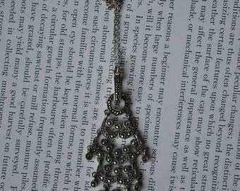 Vintage Sterling Marcasite Pendant - 1970s Art Deco Style Sterling Necklace