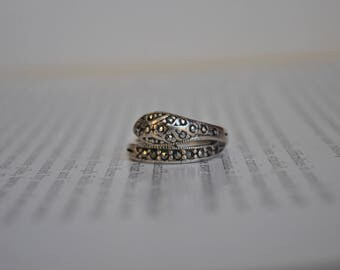 Vintage Sterling Marcasite Snake Ring - 1970s Art Deco Style Snake Ring
