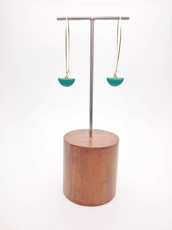 Long Gold Earrings Emerald Green enamel//Semicircle pendants dangles//Geometric dangle earrings gold steel kidney earwires//Modern Dangle