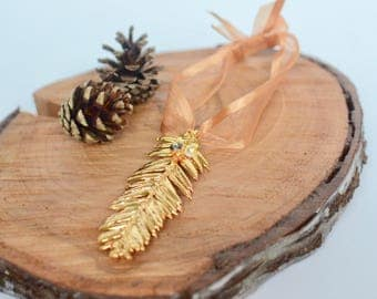 Real Leaf Ornament / Rustic Gold Woodsy Christmas Decor / Unique Baby Wedding Keepsake Closing Gift / Family Newlywed California Ornament