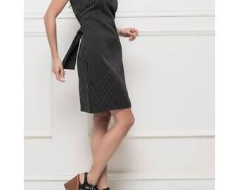Tennis Striped Black Cotton Dress.