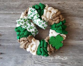 St Patrick's Wreath, Shamrock Wreath, Burlap Wreath, St Patrick's Day Wreath, St Patrick's Decor, Front Door Wreath