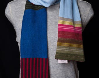 Cold weather scarf, Long warm scarf, Upcycled sweater, Wool scarf for women, Wool scarf for men, Striped scarf, Cashmere scarf
