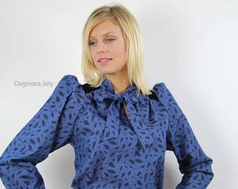 long sleeve denim blouse, bow tie women shirt, blue shirt,  puff sleeve shirt, puff sleeve blouse, blouse with bow, denim shirt