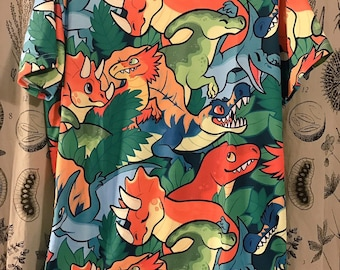 All Over Patterned Dinosaur Tee Shirt
