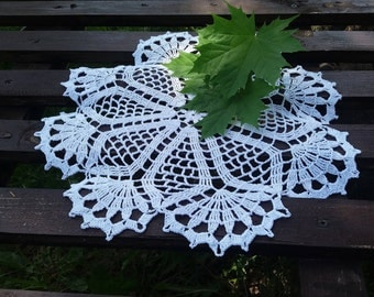 "White crochet doily 14"" table placemat centerpiece tablecloth round coaster handmade housewares doilies Mother's day gift ready to"