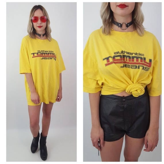 80's Vintage Yellow Red Black TOMMY Jeans T-Shirt Large -  Classic Athletic Tee Shirt - Tommy Hilfiger Grunge Sporty Soft Everyday Top