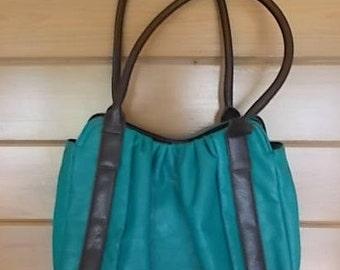 "Large~Vintage~Purse~Turquoise and Black~Flux Leather Bag~Handbag~Pocket Book~Nice~Biker~Hippie~Boho~13"" wide~Bag~Womans Accessorie"