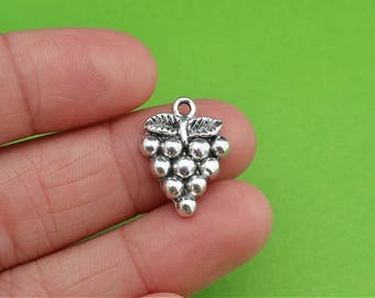 5 Silver Grape Cluster Charms
