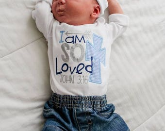 I am So Loved-Baby Boy bodysuit-Coming home Shirt-Church Outfit-Baby Boy gift-John 3:16-Take Home outfit-Newborn Baby -Appliqued Cross