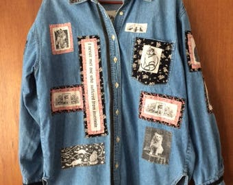 Vintage Denim Chambray Shirt Patches Cats Floral M/L