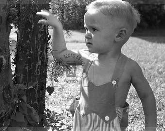 1940's Image of a Cute Little Boy Wearing Jumper in a Yard Standing by Tree -  Digital Download from Negative Scan