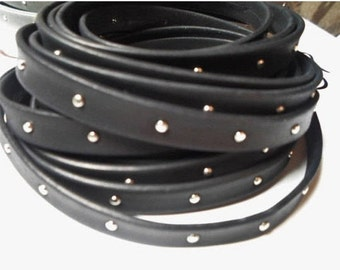 """Per 7"""" Arizona 10mm Black with Silver Tacks Leather Cord, Jewelry finding studded, Denver"""
