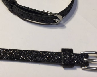 HOLIDAY SALE: 5 Child Black Glitter Stitched Bracelets, Party Favors, Gifts, Flat Leather Finding, Jewelry Supplies,
