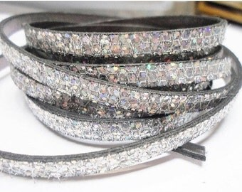 SALE:  Pre Cuts, No Joins, Silver Glitter 6mm Flat Leather