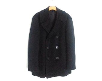 Vintage 50s Navy Peacoat Man's Wool Kersey 38R