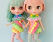 retro kitsch pom pom rainbow dress for Blythe doll / RAIN-POM