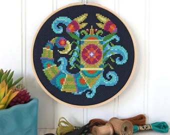 Scorpio - zodiac sign - Satsuma Street modern cross stitch pattern PDF - Instant download