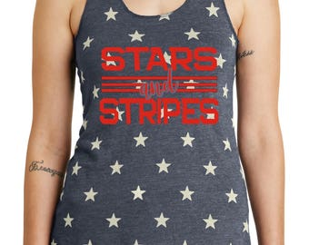 Stars and stripes womens racer tank- america-red white and blue- american made- independence day- 4th of july