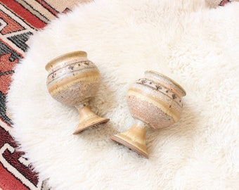 Vintage Goblet Set Two Stoneware Hand Thrown Goblets Small Planters Boho Home Decor