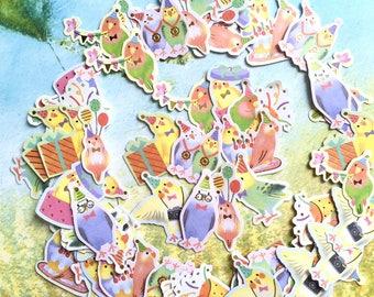70 birds sticker rare bird super cute bird planner sticker fancy little birds flake sticker baby birds fairy tale bird decor label sticker
