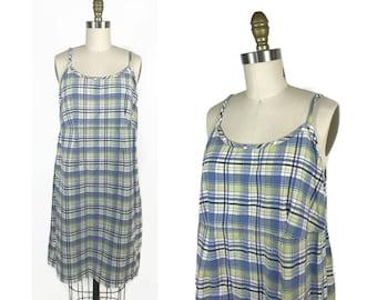 1990s Maternity Dress / 90s Plaid Spaghetti Strap Maternity Dress / Vintage Motherhood Maternity Dress