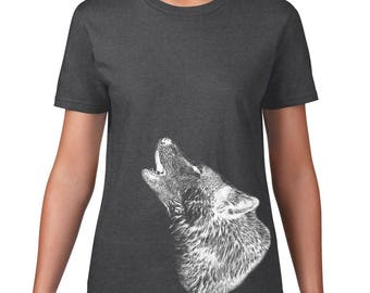Women's Howling Wolf Tshirt, Wolf T Shirt, Wildlife, Wild Animal Tee, Ringspun Cotton