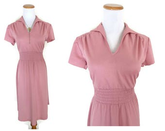 Blush Pink Dress 70s Midi Light Pink Pastel Dress 1970s Size Medium M Secretary Indie Hipster Boho Dolly