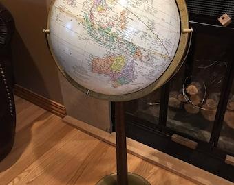 "Vintage 12"" Crams Antique Globe on Wood Pedestal from 1960s"