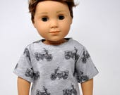 Gray Motorcycle Print Boy Shirt made to fit American Girl   18 inch Doll Clothes  Boy Doll Clothes