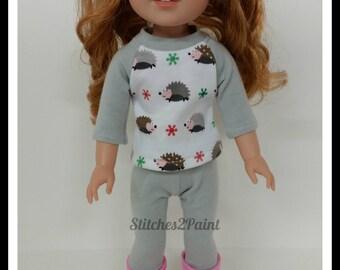 Handmade Doll Clothes fits 14 Dolls like Wellie Wishers, Doll Leggings, Doll Shirt, Hedgehog, American, Girl Doll, Grey, Pink, Brown