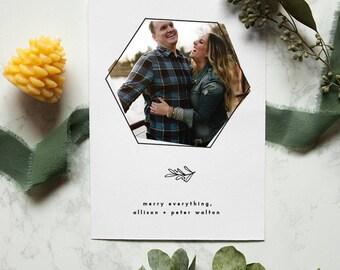 Holiday Photo Card, Merry Holiday Card, Christmas Photo Card, Holiday Greeting Card, Christmas Card, Modern Holiday Card, Semi Customizable