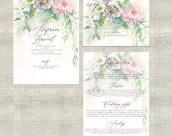 Serenity unique illustrated personalised wedding invitations with rsvp and info sheets
