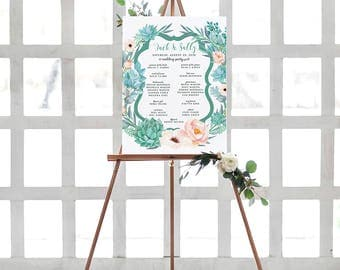 Desert Wedding Party Sign - Blush and Succulent Wedding Welcome Poster