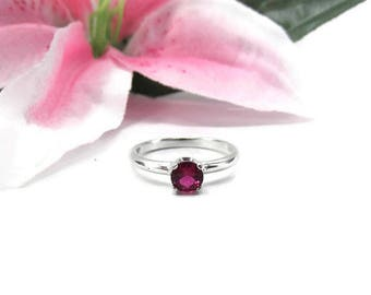 Genuine Ruby Ring - Natural Ruby Solitaire - Ruby Engagement Ring - July Birthstone - Ruby Jewelry - Red Gemstone Ring - Sterling Silver