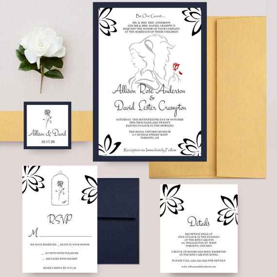 Disney Wedding Invitation: Beauty And The Beast Wedding Invitations Disney Wedding
