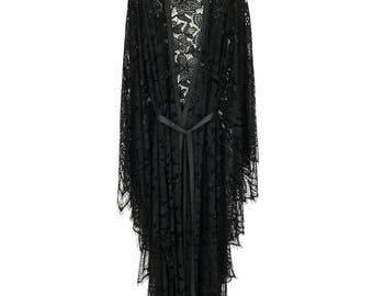 lace kimono, black lace kaftan, lace robe, black lace robe, long lace kimono, long black lace robe, black lace kimono robe, lace kimono robe